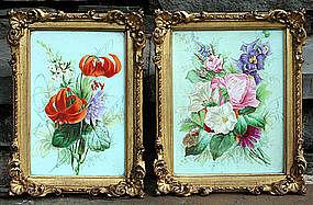 Small Pair of Antique Painted Porcelain Plaques